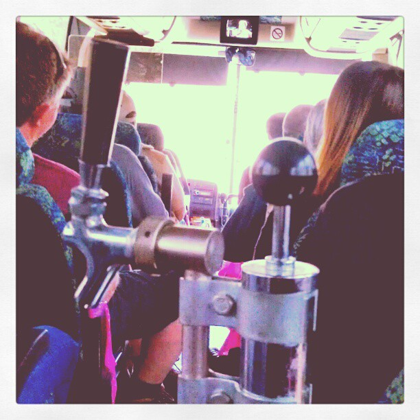 The only way to travel. Keg's on the bus. - from Instagram