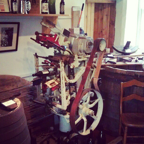Label machine at Traquair House Ale Scotland. - from Instagram