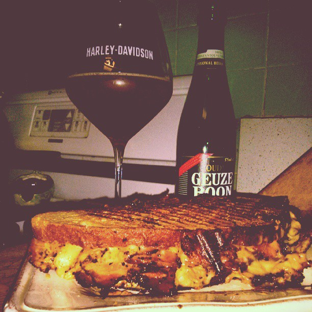 Late night early morning, Dan Jr. Aka head brewery  Pastrami Reuben w an Geuze Boon Lambiek Mmmmmmm very tasty. It was an sample. Tart but, adv 7%. Pastrami 1000% awesome. - from Instagram