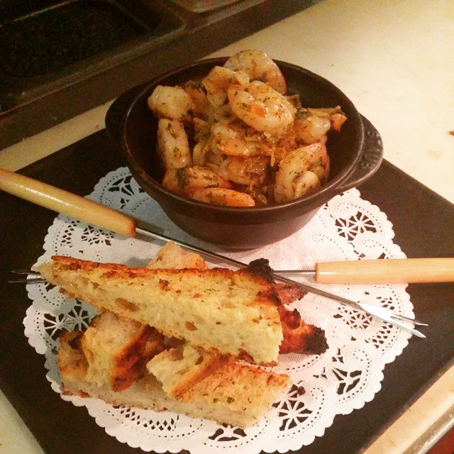 #GarlicShrimp sauteed in a ridiculous amount of #garlic and olive oil. Served with grilled garlic #focaccia .... #spicy Sooooooo Good. - from Instagram