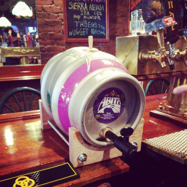 New cask on. #Caskconditionedale #realale #Abita #wroughtironipa with an extra bag of #dryhops Notice the hop bag string on top - from Instagram