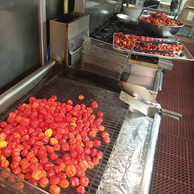 One of today's project.. #habenero roasting on a open  For Glights house made #hotsauce - from Instagram