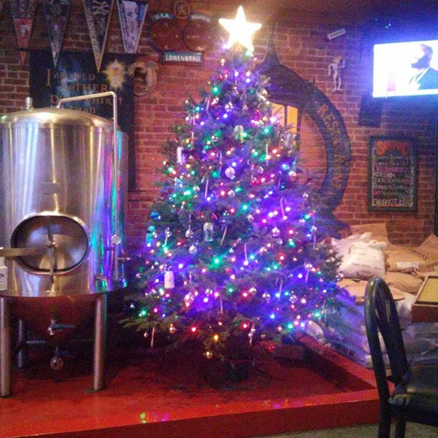What a pretty #christmastree can you see the special ornaments? #hohoho #brewpub #southorange - from Instagram