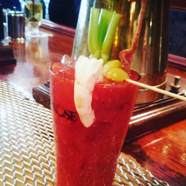 #nationalbloodymaryday #gaslightbrewery #shrimp #bacon #baconvodka Now that's worth getting up for. - from Instagram